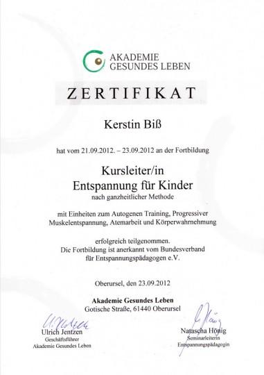 Zertifikat - Entspannung für Kinder
