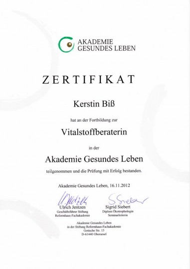 Zertifikat - Vitalstoffberaterin