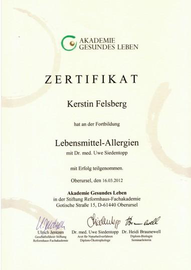 Weiterbildung Lebensmittelallergien